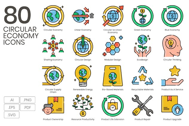 80 Circular Economy Line Icons - product preview 0