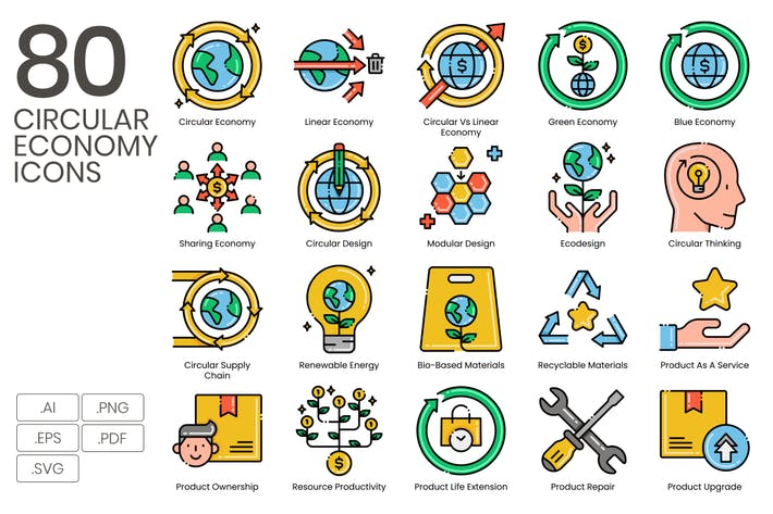 Thumbnail for 80 Circular Economy Line Icons