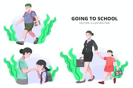 Going to School - Activity Vector Illustration