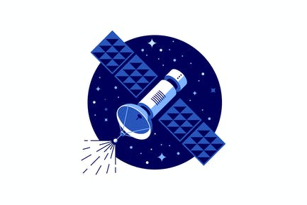 Blue satellite vector illustration