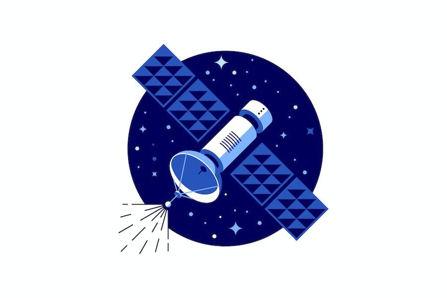 Blauer Satelliten-Vektor Illustration
