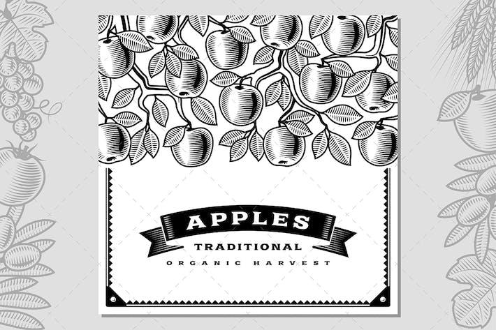 Thumbnail for Retro Apple Harvest Card Black And White