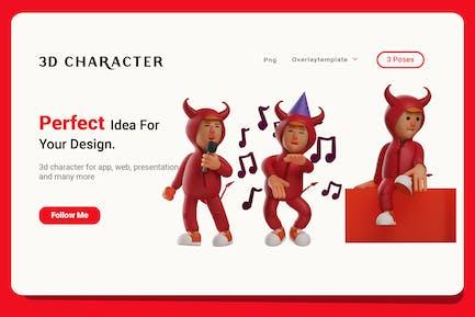 3D Boy Illustration with Costume Red Devil