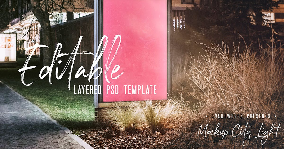 Download City Light Board Poster Mockup 04 by cruzine