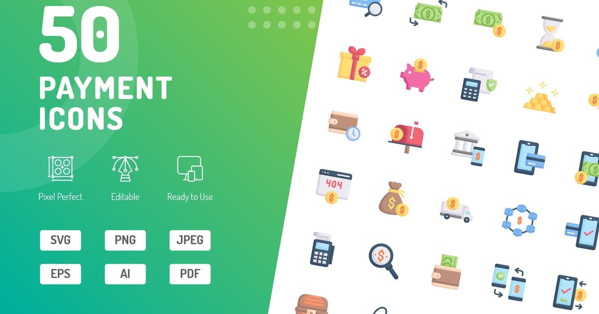 Download Payment Flat Icons by kerismaker