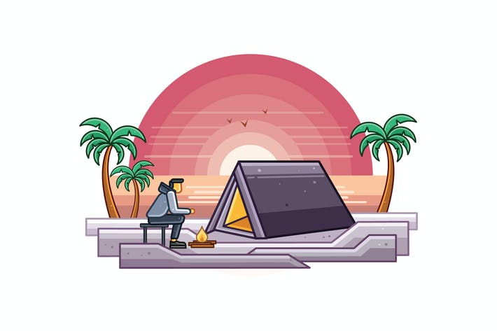 Thumbnail for Camping at Beach Graphics Illustration