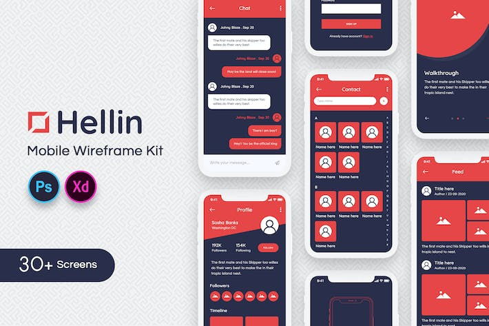 Thumbnail for Hellin Mobile Wireframe Kit