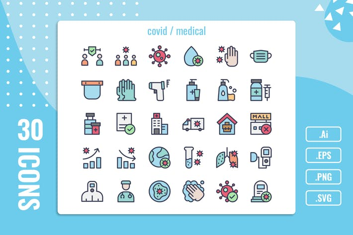Thumbnail for 30 Iconset for Covid / Medical with 5 styles