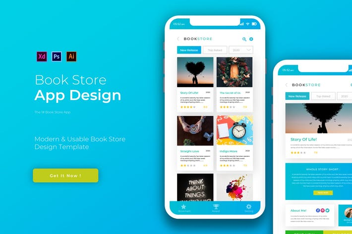 Thumbnail for Book Store | App Design Template