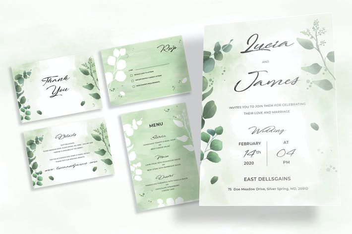 Thumbnail for Botanical Wedding Invitation Set