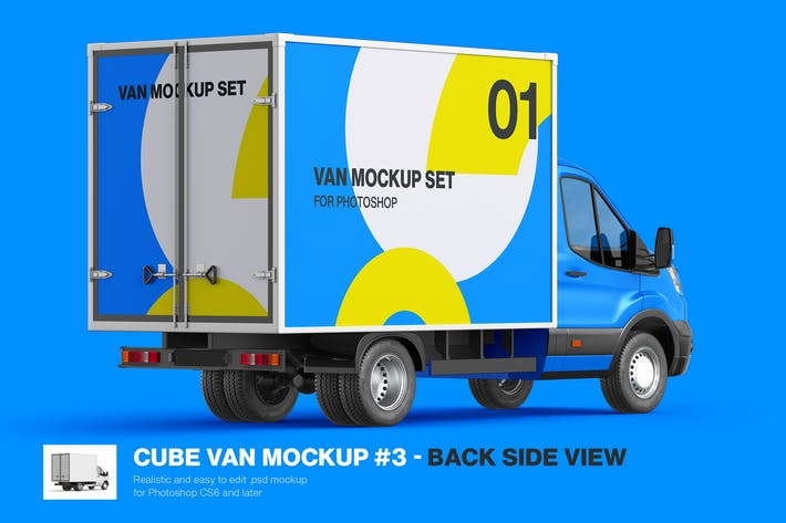 Thumbnail for Cube Van Mockup 03 - Back Side View