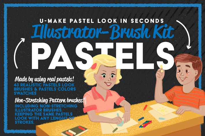 Thumbnail for Pastels Illustrator Brush-Kit
