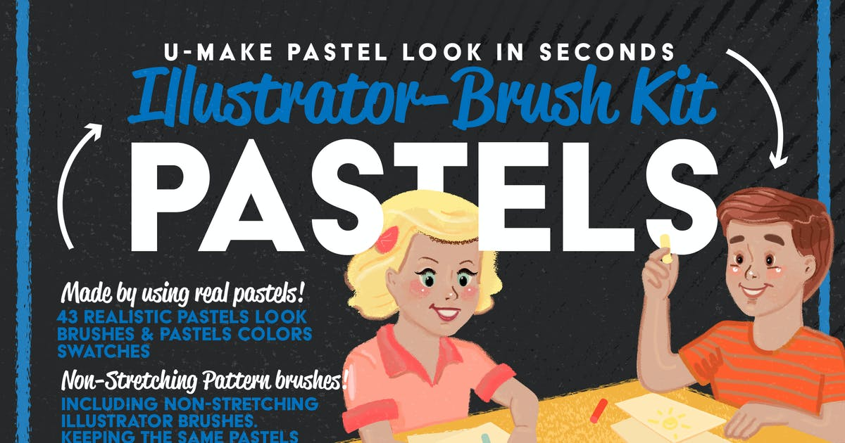 Download Pastels Illustrator Brush-Kit by LeoSupply