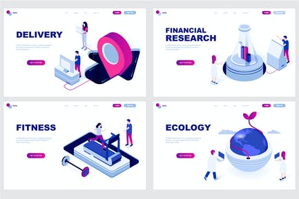 Set Isometric Landing Page Template