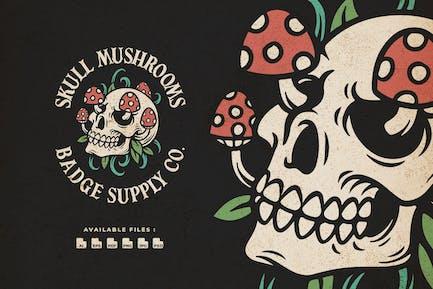 Skull Mushrooms Hand Drawn Logo