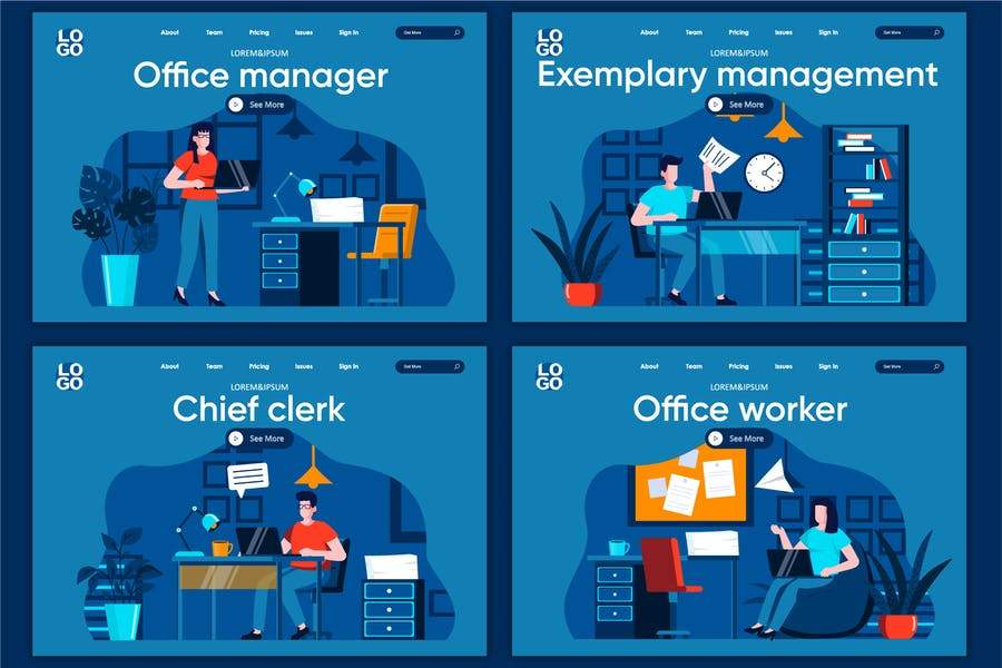 Modèle de page de destination Management Flat Concept
