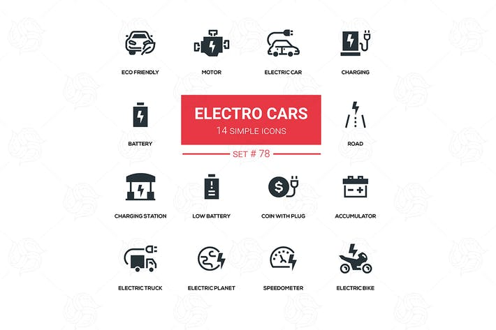 Thumbnail for Electro cars - line design silhouette icons set