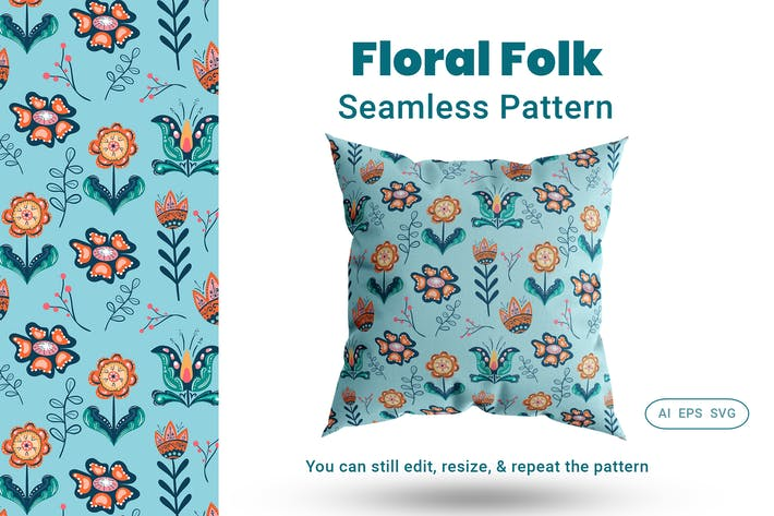 Thumbnail for Seamless Pattern Floral Folk