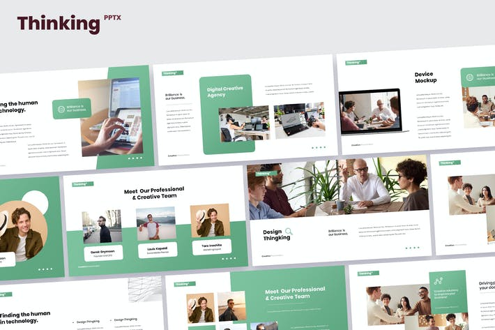 Thumbnail for Thinking - Digital Marketing Powerpoint Template