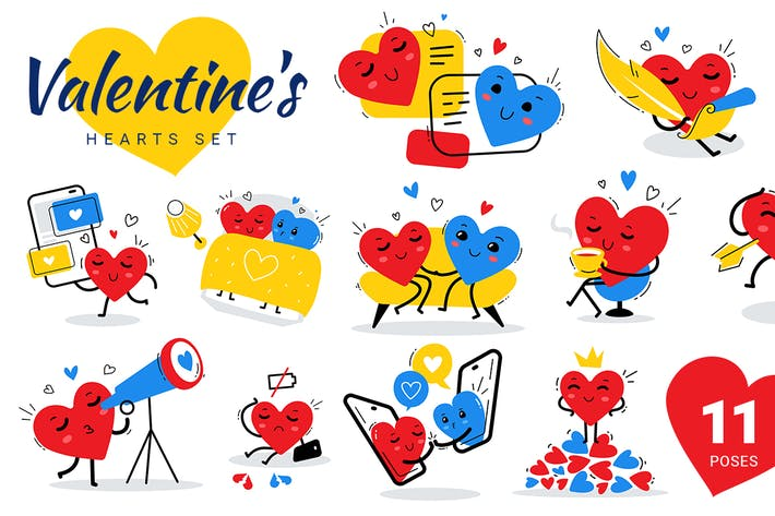 Thumbnail for Valentine's hearts set