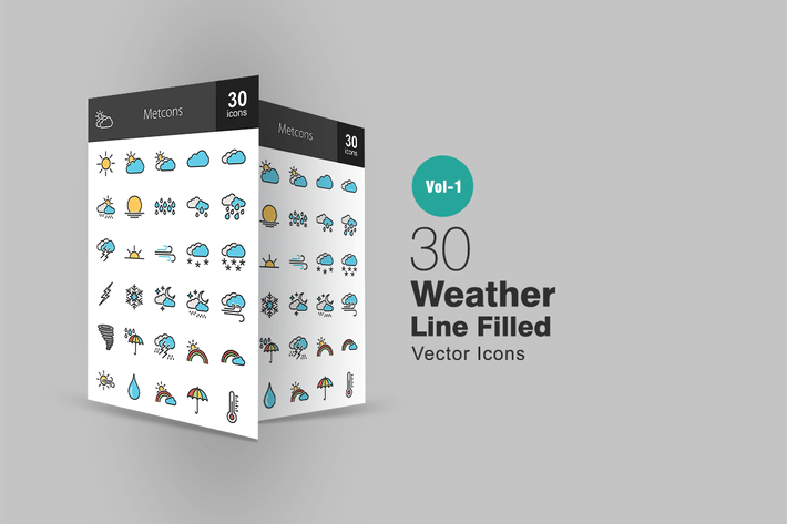 Thumbnail for 30 Weather Line Filled Icons