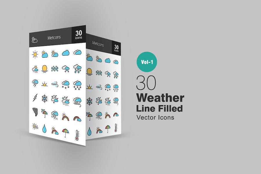 30 Weather Line Gefüllte Icons