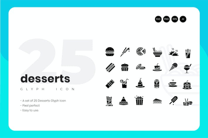 Thumbnail for 25 Dessert Glyph Icon Set