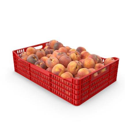 Peaches in plastic crate