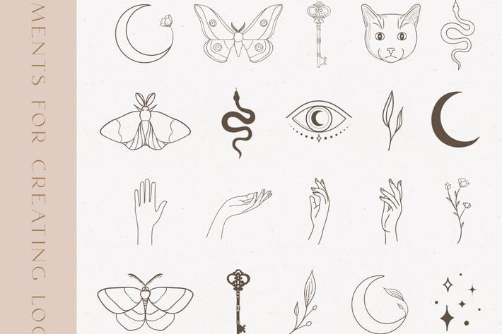 Black Decorative Elements Illustrations. Esoteric.