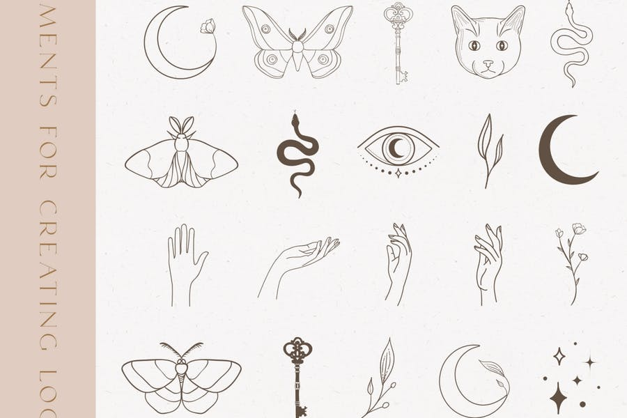 Black Decorative Elements Illustrations. Esoteric.