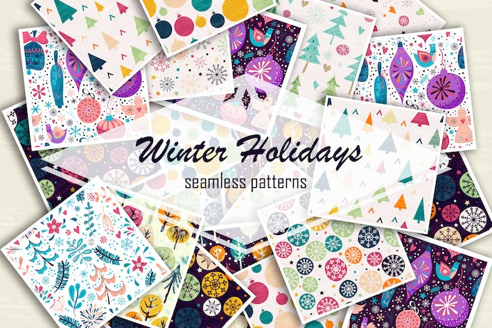 Thumbnail for Winter holidays seamless patterns