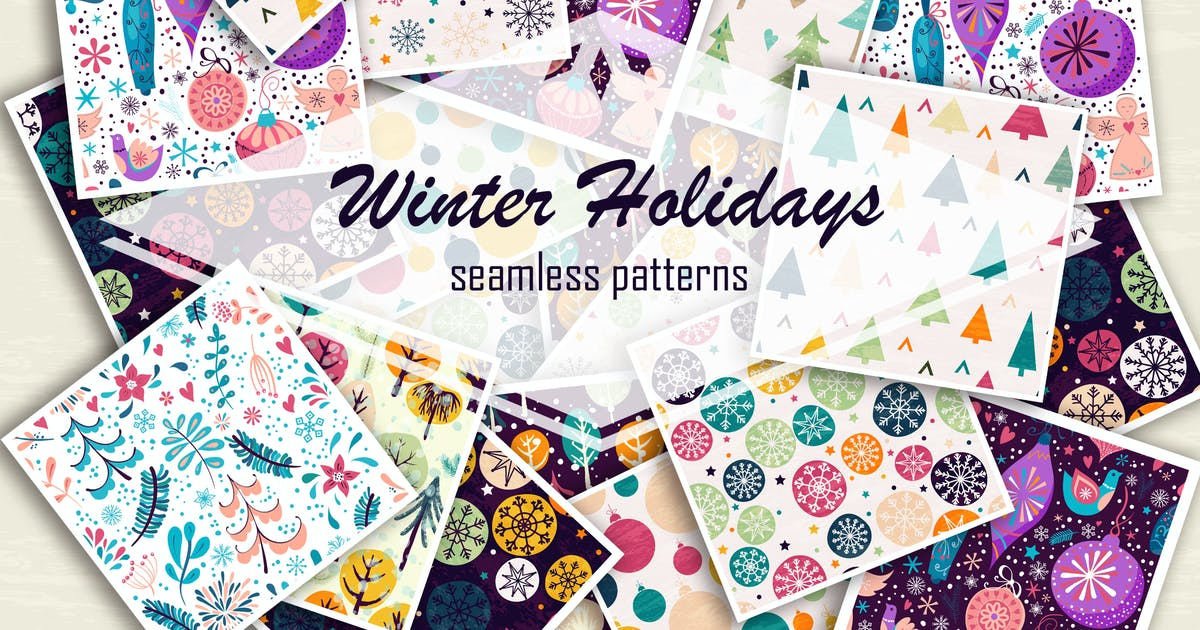 Download Winter holidays seamless patterns by Lidiebug