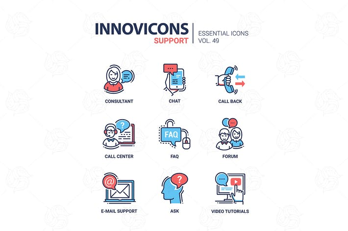 Thumbnail for Technical Support - vector line design icons