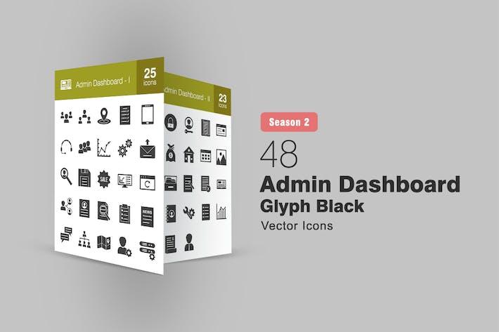 Thumbnail for 48 Admin Dashboard Glyph Icons Season II