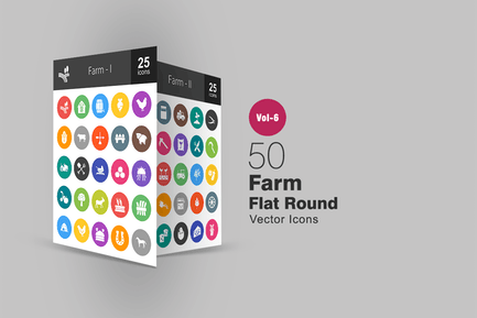 50 Farm Glyph Multicolor BG Icons