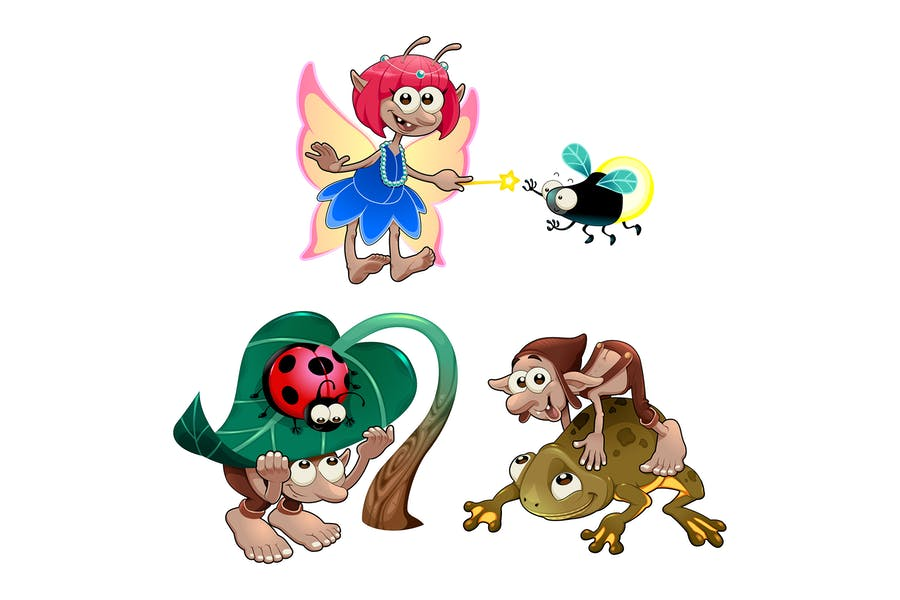 Fairy and Gnomes Playing with Animals