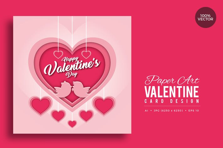 Thumbnail for Paper Art Valentine Square Vector Card Vol.1