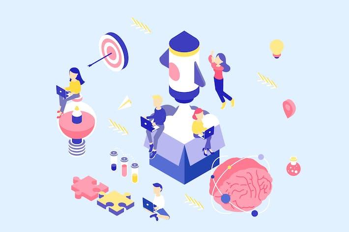 Thumbnail for Ilustración isométrica de proceso Creativo