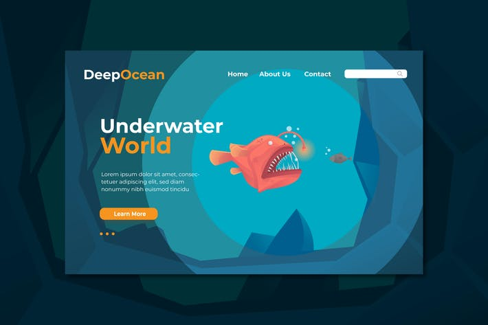 Cover Image For Underwater World Landing Page Illustration