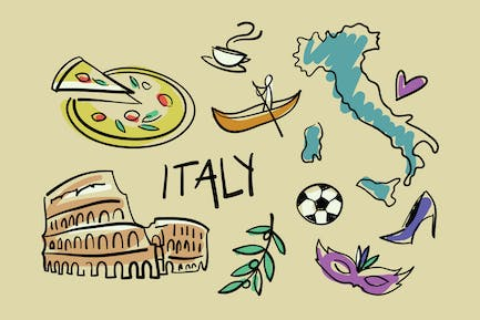 Visit Italy Doodles