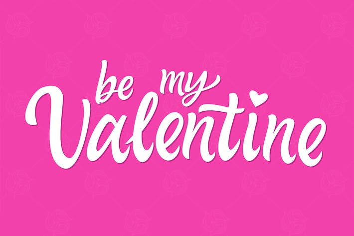 Thumbnail for Be My Valentine - hand drawn brush pen lettering