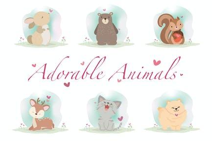 Liebenswerte Tiere handgezeichnet