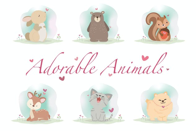 Adorable Animals Hand Drawn - product preview 0