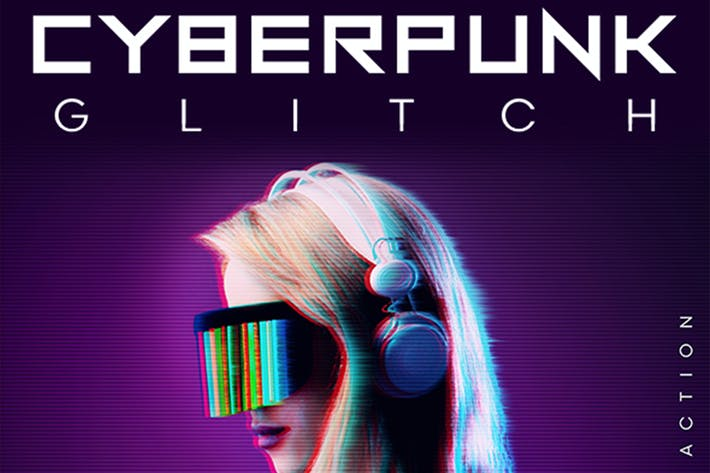 Thumbnail for CyberPunk Glitch Photoshop Action