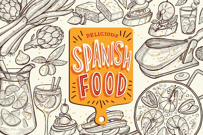Thumbnail for Spanish Food Hand-Drawn Graphic