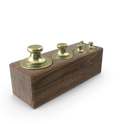 Vintage Balance Waage Gewichte in Holzkiste