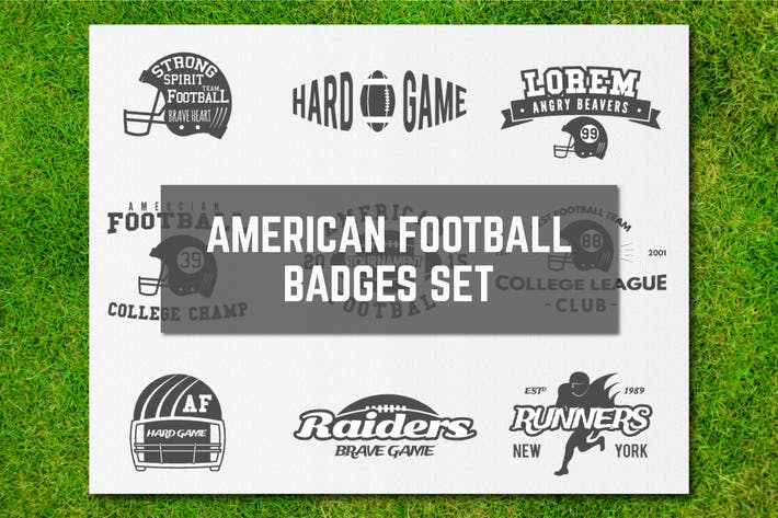 Thumbnail for American Football Logos Bundle Retro Sports Labels