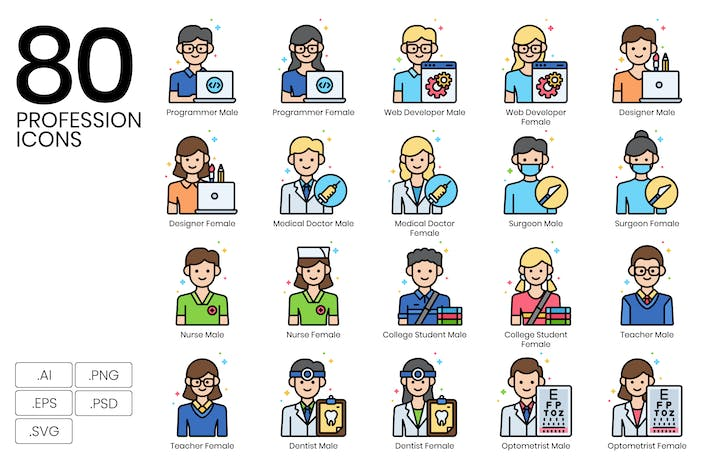 Thumbnail for 80 Professions Icons | Vivid Series