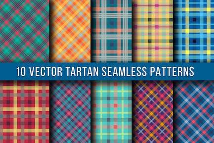 10 Vector Tartan Seamless Patterns