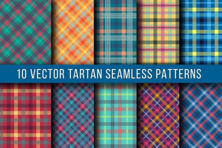 Thumbnail for 10 Vector Tartan Seamless Patterns